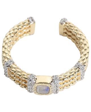 Offener goldener Ring mit Zirkon und Mondstein Kaia BE MAAD