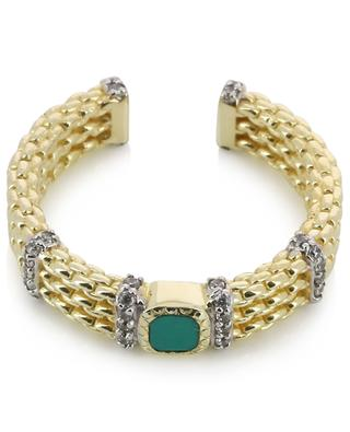 Kaia open golden ring adorned with zircon and turquoise BE MAAD