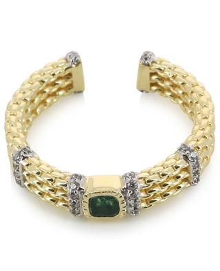 Kaia open golden ring adorned with zircon and aventurine BE MAAD