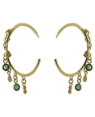 Nati open golden hoop earrings with green zircons BE MAAD