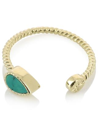 Bali open twisted gold plated ring with turquoise BE MAAD