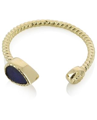 Bali open twisted gold plated ring with sapphire BE MAAD