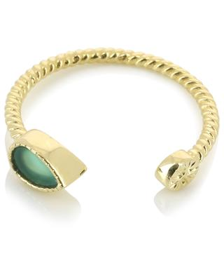Bali open twisted gold plated ring with green onyx BE MAAD