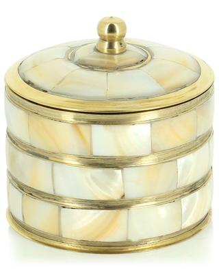 Lidded brass container with mother-of-pearl details A LA