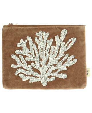 Kulturtasche aus Baumwolle mit Korallenstickerei A LA