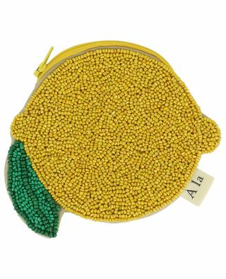 Lemon-shaped beaded cotton coin purse A LA