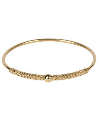 Jasmine 1 closed golden bangle with cord design LA2L