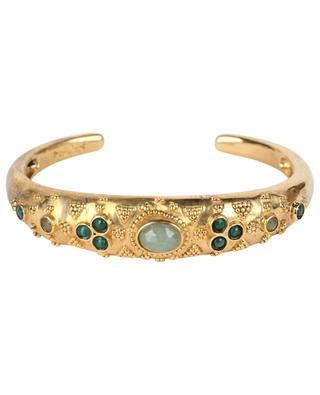 Jasmine golden bangle lapis lazuli and blue opaline LA2L