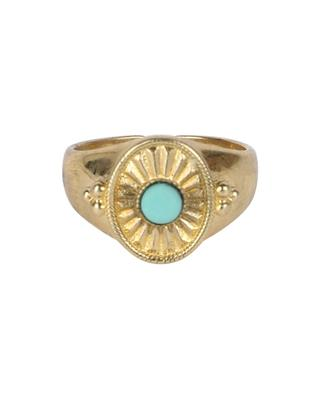 Jasmine golden signet ring with turquoise LA2L