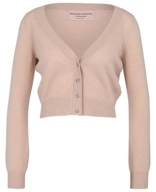 Cropped V-neck cardigan in cashmere with crystal buttons ERMANNO SCERVINO