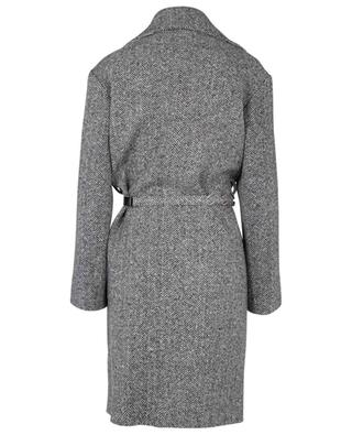 Herringbone patterned oversize coat with crystal embellished belt ERMANNO SCERVINO