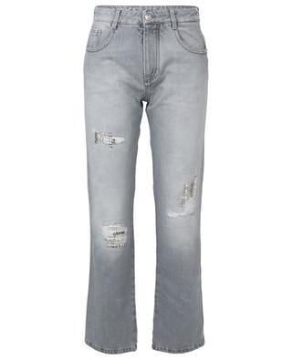 Crystal embellished distressed grey boyfriend jeans ERMANNO SCERVINO