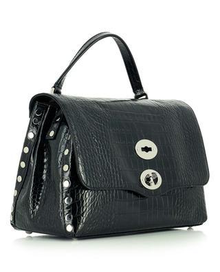 Postina S Linea Ritratto Neros croc embossed leather handbag ZANELLATO