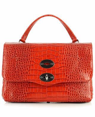 Postina S Linea Ritratto Vignola croc embossed leather handbag ZANELLATO
