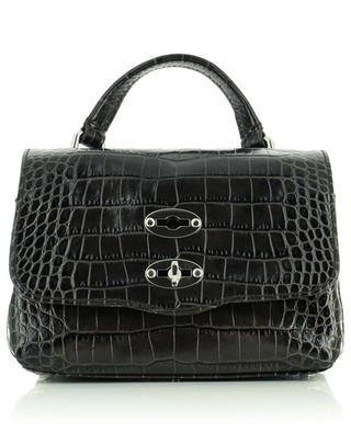Postina Baby Linea Ritratto Castagna small crocodile embossed handbag ZANELLATO