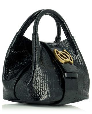 Zoe Baby Linea Ritratto Neros small croc embossed leather handbag ZANELLATO