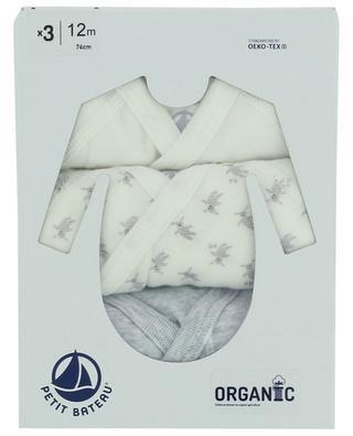 Coffret de trois bodies imprimés en coton biologique PETIT BATEAU