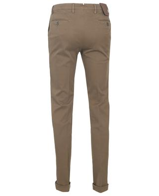 Textured cotton blend slim fit chino trousers B SETTECENTO