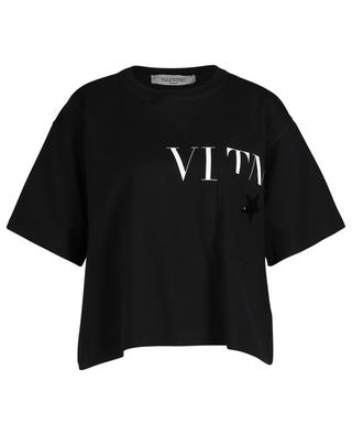 VLTNSTAR short boxy T-shirt with print and embroideries VALENTINO