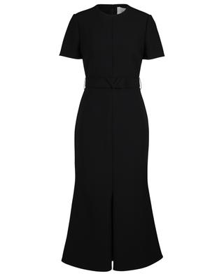 Fitted midi dress in crepe couture with V belt VALENTINO