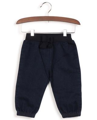 Lape denim effect sweat trousers with bow PETIT BATEAU