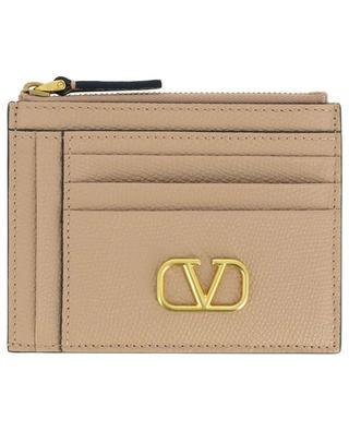 Kartenetui aus genarbtem Leder mit Reissverschlusstasche VLogo Signature VALENTINO