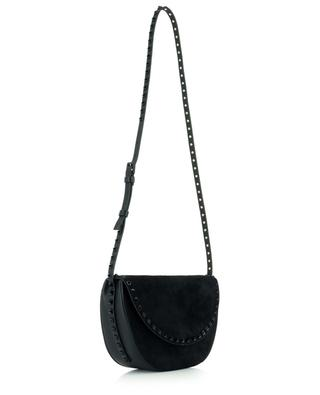 Rockstud leather and suede half-moon bag VALENTINO