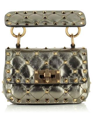 Micro sac en cuir métallisé Rockstud VALENTINO