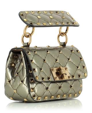 Mikrotasche aus Metallic-Leder Rockstud VALENTINO