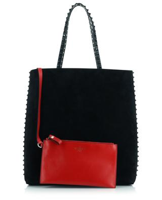 Rockstud calfskin and suede tote bag VALENTINO