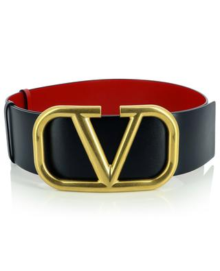 VLogo Signature large reversible leather belt in red and black VALENTINO
