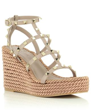 Rockstud 95 espadrille spirit leather wedge sandals VALENTINO