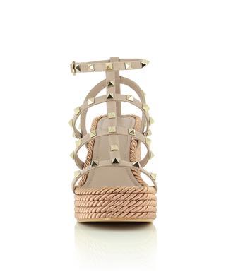 Rockstud 95 espadrille spirit leather wedge sandals VALENTINO