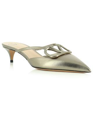 VLogo Signature 40 metallic leather mules with stiletto heels VALENTINO