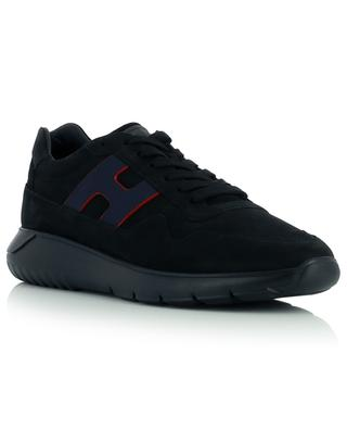 Interactive3 monogrammed low-top lace-up sneakers in nubuck leather HOGAN