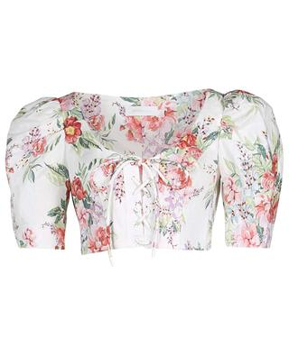 Bellitude floral linen crop top ZIMMERMANN