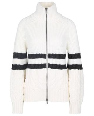Chunky zippered cardigan adorned with stripes, sequins and cable knit LORENA ANTONIAZZI