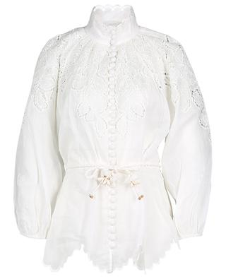 Carnaby scallop blouse in ramie ZIMMERMANN