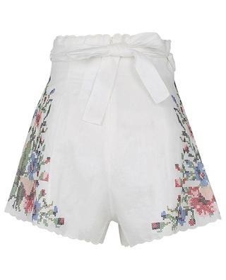 Juliette Cross Stitch high-rise linen shorts with embroideries ZIMMERMANN