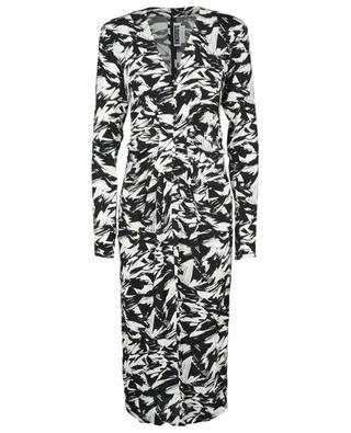 Robe midi ajustée en crêpe imprimée Heather Black Comb ROTATE BIRGER CHRISTENSEN