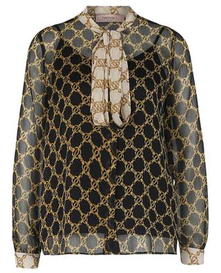 Langarmhemd mit Schluppe und Kettenprint TWINSET