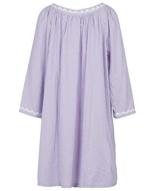 Mouna flannel night shirt with bicolour gingham checks CELESTINE