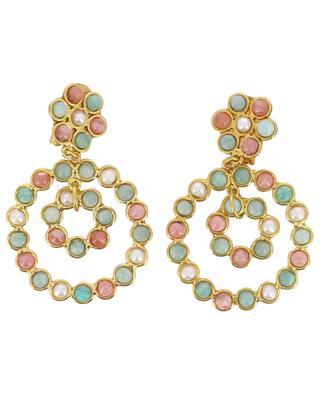 Boucles d'oreilles clips Flower Candies - Amazonite, perle, rhodochrosite SYLVIA TOLEDANO