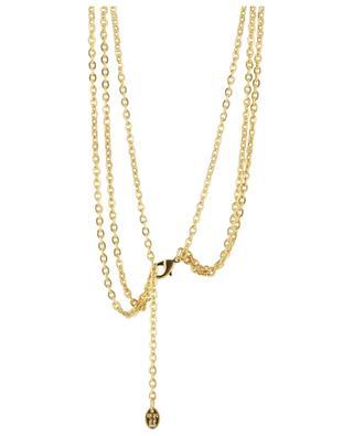 Dreisträngige vergoldete Halskette aus Messing Medaillon 3 - Perle SYLVIA TOLEDANO