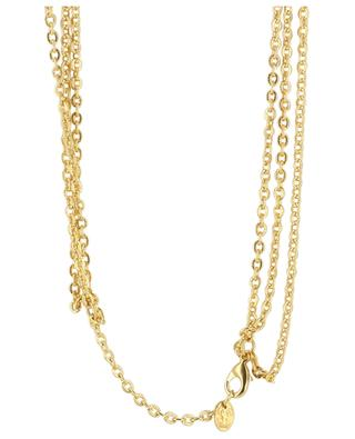 Dreisträngige vergoldete Halskette aus Messing Médaillon 3 - Malachit SYLVIA TOLEDANO