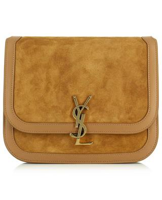Solferino Medium monogrammed suede and leather shoulder bag SAINT LAURENT PARIS