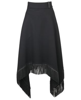 Jupe trapèze asymétrique à franges en laine vierge et cuir SAINT LAURENT PARIS