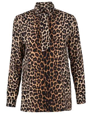 Chemisier en soie à lavallière imprimé léopard SAINT LAURENT PARIS