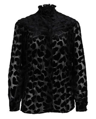 Long-sleeved blouse with velvet hearts SAINT LAURENT PARIS