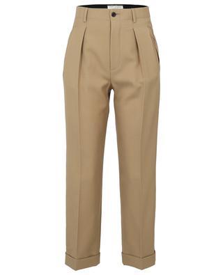 Pantalon à pinces taille haute en gabardine de laine SAINT LAURENT PARIS